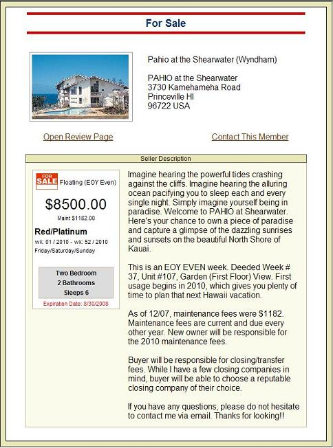 Free Timeshare Classified Ad Sample